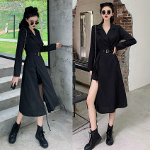 Women's large Autumn 2020 black L (recommended 100-120 kg), XL (recommended 120-140 kg), XXL (recommended 140-160 kg), 3XL (recommended 160-180 kg), 4XL (recommended 180-200 kg) Dress singleton  commute easy moderate Socket Long sleeves Solid color V-neck Three dimensional cutting Asymmetry