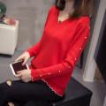 Women's large Winter of 2019 Dark blue, red, black Big l [recommended 90-115 kg], big XL [recommended 120-140 kg], big 2XL [recommended 140-160 kg], big 3XL [recommended 160-175 kg], big 4XL [recommended 180-200 kg] sweater singleton  commute easy moderate Socket Long sleeves Korean version V-neck
