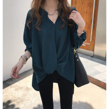 Women's large Autumn of 2019 White, green, blue L (recommendation 100-120), XL (recommendation 120-140), 2XL (recommendation 140-160), 3XL (recommendation 160-180), 4XL (recommendation 180-200) shirt singleton  commute easy moderate Socket Long sleeves Solid color routine Three dimensional cutting