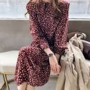 Dress Autumn 2020 Apricot, red, green, white vest M,L,XL,2XL,3XL,4XL Mid length dress singleton  Long sleeves commute Loose waist Broken flowers Other / other Retro 51% (inclusive) - 70% (inclusive)