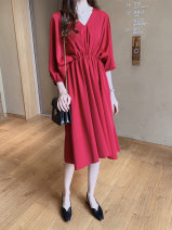 Dress Summer of 2019 Light blue, red, black M,L,XL,2XL,3XL,4XL Miniskirt singleton  three quarter sleeve commute V-neck Elastic waist Solid color Socket A-line skirt routine Others 25-29 years old Type A Other / other 30% and below other other