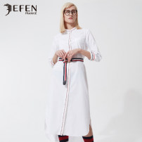 Dress Summer of 2019 white S M Mid length dress singleton  three quarter sleeve commute Crew neck middle-waisted Solid color Single breasted One pace skirt routine Others 25-29 years old Type H JEFEN / Giffen Simplicity 51% (inclusive) - 70% (inclusive) cotton