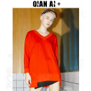 Women's large Spring of 2019 Black red Sweater / sweater singleton  easy moderate Socket Long sleeves Crew neck routine cotton routine Qian AI 25-29 years old 96% and above Cotton 100% Same model in shopping mall (sold online and offline)