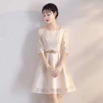 Dress / evening wear Weddings, adulthood parties, company annual meetings, daily appointments XXXL S M L XL XXL Korean version Short skirt middle-waisted Summer of 2018 Self cultivation One shoulder zipper 18-25 years old XKLF8843 elbow sleeve flower Saussurea other Polyester 100% Non handmade flower