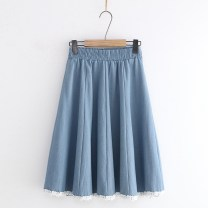 skirt Spring 2020 Average size Light blue, dark blue, medium blue Sweet High waist A-line skirt Solid color Type A 18-24 years old 71% (inclusive) - 80% (inclusive) Denim solar system