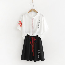 T-shirt White short sleeve, black short skirt, short sleeve + short skirt Average size Summer of 2019 Short sleeve Crew neck easy routine Sweet polyester fiber 71% (inclusive) - 85% (inclusive) 18-24 years old youth Cartoon animation Other / other Print, fringe solar system