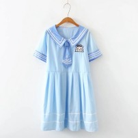 Dress Summer of 2019 Average size Middle-skirt singleton  Short sleeve Sweet Polo collar Others 18-24 years old 81% (inclusive) - 90% (inclusive)