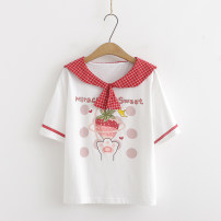 T-shirt White, two strawberries S,M,L Summer of 2019 Short sleeve Crew neck Regular routine Sweet cotton 71% (inclusive) - 85% (inclusive) 18-24 years old solar system