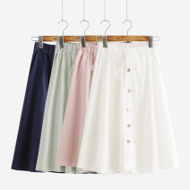 skirt Spring 2021 Average size Mid length dress fresh Natural waist A-line skirt Solid color Type A 18-24 years old 91% (inclusive) - 95% (inclusive) other Other / other cotton