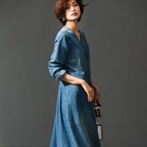 Dress Spring of 2019 Denim M,L,LL,3L,4L,5L Mid length dress singleton  Sweet Lolita