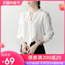 Lace / Chiffon Spring 2021 White [Plush] S M L XL 2XL Long sleeves commute Socket singleton  easy Regular Half open collar Solid color routine 25-29 years old Lepidoptera Lace up stitching Polyester 100% Pure e-commerce (online only)