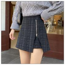 skirt Winter 2020 M,L,XL,2XL,3XL,4XL Dark grey, light grey Short skirt Versatile High waist Irregular lattice Type A 81% (inclusive) - 90% (inclusive) Wool polyester fiber Asymmetric, zipper