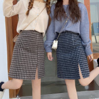 skirt Winter 2020 M,L,XL,2XL,3XL,4XL Mid length dress Versatile High waist Irregular lattice Type A 71% (inclusive) - 80% (inclusive) Wool cotton Three dimensional decoration, asymmetric