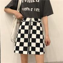 skirt Summer of 2019 L,XL,2XL,3XL,4XL Black and white check Short skirt street High waist A-line skirt lattice Type A other Zipper, print Hip hop