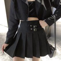 skirt Autumn 2020 M,L,XL,2XL,3XL,4XL black Short skirt commute High waist Pleated skirt Solid color Type A 81% (inclusive) - 90% (inclusive) other polyester fiber Pleats, buttons, zippers Korean version