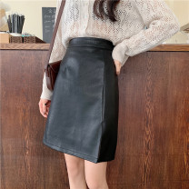 skirt Autumn 2020 M,L,XL,2XL,3XL,4XL Black, apricot Mid length dress commute High waist A-line skirt Solid color Type A 51% (inclusive) - 70% (inclusive) other PU Three dimensional decoration, asymmetry, safety pants Korean version