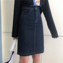 skirt Autumn 2020 M,L,XL,2XL,3XL,4XL Navy Blue Mid length dress commute High waist Denim skirt Solid color Type A 71% (inclusive) - 80% (inclusive) Denim other pocket , Three dimensional decoration , Button , Bright line decoration Korean version