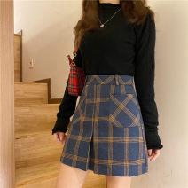 skirt Autumn 2020 M,L,XL,2XL,3XL,4XL Picture color Short skirt commute High waist A-line skirt lattice Type A 81% (inclusive) - 90% (inclusive) other polyester fiber Zipper, print Korean version