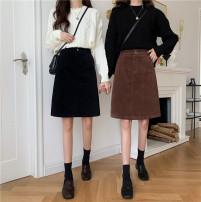skirt Winter 2020 M,L,XL,2XL,3XL,4XL Black, Khaki Mid length dress Versatile High waist A-line skirt Solid color Type A 31% (inclusive) - 50% (inclusive) corduroy polyester fiber Pocket, button