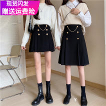skirt Winter 2020 S,M,L,XL,2XL,3XL,4XL,5XL Black; short skirt, black; medium skirt;, black [suit fabric] short skirt;, black [suit fabric] medium skirt; Mid length dress commute High waist Pleated skirt Solid color Type A 81% (inclusive) - 90% (inclusive) Wool cotton Korean version