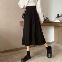skirt Autumn 2020 S,M,L,XL,2XL,3XL,4XL black Mid length dress commute High waist Irregular Solid color Type A 81% (inclusive) - 90% (inclusive) other polyester fiber Asymmetric, button, zipper Korean version