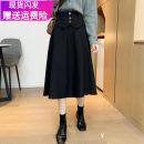 skirt Autumn 2020 M,L,XL,2XL,3XL,4XL Black (suit fabric), black (Tweed Fabric) Mid length dress commute High waist A-line skirt Solid color Type A 51% (inclusive) - 70% (inclusive) other polyester fiber Three dimensional decoration, asymmetric, button, waist cover Korean version