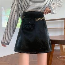 skirt Autumn 2020 S,M,L,XL,2XL,3XL,4XL black Short skirt commute High waist A-line skirt Solid color Type A 81% (inclusive) - 90% (inclusive) other PU Pocket, zipper Korean version