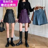 Casual pants black , blue , Camel color , violet , Black grid ( Woollen cloth) , Khaki grid ( Woollen cloth) , Black button ( Woollen cloth) S,M,L,XL,2XL,3XL,4XL Autumn 2020 shorts Wide leg pants High waist commute routine 18-24 years old 51% (inclusive) - 70% (inclusive) PU leather Korean version