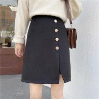 skirt Autumn 2020 M,L,XL,2XL,3XL,4XL black Mid length dress commute High waist other Solid color Type A 81% (inclusive) - 90% (inclusive) Wool polyester fiber Button, zipper Korean version