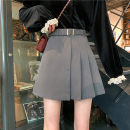 skirt Autumn 2020 M,L,XL,2XL,3XL,4XL Black, gray Short skirt commute High waist A-line skirt Solid color Type A 51% (inclusive) - 70% (inclusive) other polyester fiber Fold, lace, three-dimensional decoration, asymmetry, bandage Korean version