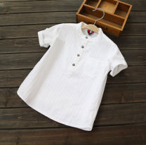 shirt White [cardigan], pure white [Pullover] Other / other male 80cm,90cm,100cm,110cm,120cm,130cm,140cm,150cm,160cm summer Short sleeve Versatile Solid color Pure cotton (100% cotton content) stand collar Cotton 95% other 5%