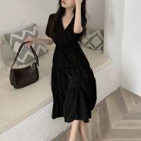 Dress Summer 2021 Picture color L,XL,2XL,3XL,4XL Mid length dress singleton  Short sleeve commute V-neck Solid color Socket A-line skirt routine 18-24 years old Type A Button 31% (inclusive) - 50% (inclusive) other other