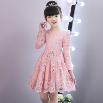 Dress Red hair without velvet, shrimp pink hair without velvet, shrimp powder with velvet, red hair with velvet female Feifeifeiya 100cm,110cm,120cm,130cm,140cm,150cm Polyester 100% spring and autumn Long sleeves Solid color other A-line skirt Class B