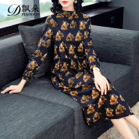 Dress Spring 2020 Picture color M L XL 2XL 3XL Mid length dress singleton  Long sleeves street stand collar middle-waisted Decor Socket A-line skirt routine Others 30-34 years old Type A Floating flower Pleated zipper print More than 95% cotton Cotton 100% Pure e-commerce (online only)