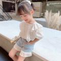 shirt white EYAE KIDS female 90cm,100cm,110cm,120cm,130cm,140cm summer Short sleeve Korean version Solid color cotton Doll Collar Cotton 90% other 10% S0208 Class B