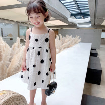 Dress white female EYAE KIDS 90cm,100cm,110cm,120cm,130cm,140cm Cotton 90% other 10% summer Korean version Skirt / vest Wave point cotton Denim skirt Q1254 Class B Three, four, five, six, seven, eight, nine Chinese Mainland Zhejiang Province Hangzhou