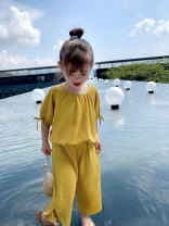 suit EYAE KIDS yellow 90cm,100cm,110cm,120cm,130cm,140cm female summer Korean version Short sleeve + pants 2 pieces routine There are models in the real shooting Socket nothing Solid color cotton friend Giving presents at school B21121 Class B Cotton 90% other 10% Chinese Mainland Zhejiang Province