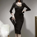 Dress Winter 2020 black S,M,L,XL Mid length dress singleton  three quarter sleeve commute Crew neck middle-waisted Solid color zipper One pace skirt routine Others 25-29 years old Type X Korean version Stitching, zipper, lace