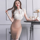 Dress Summer 2020 Picture color S,M,L,XL Short skirt singleton  Short sleeve commute Half high collar middle-waisted Solid color One pace skirt Lotus leaf sleeve Others 25-29 years old Type X Korean version Ruffle, hollow, open back, stitching, zipper, lace