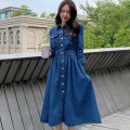 Dress Autumn 2020 blue S,M,L,XL longuette singleton  Long sleeves commute Polo collar middle-waisted Solid color Single breasted Big swing routine Others 25-29 years old Type A Korean version Ruffles, pockets, stitching, buttons