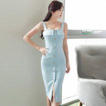 Dress Summer 2020 sky blue S,M,L,XL Mid length dress singleton  Sleeveless commute One word collar middle-waisted Solid color zipper One pace skirt camisole 25-29 years old Type X Korean version