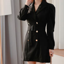 Dress Winter of 2019 black S,M,L,XL Short skirt singleton  Long sleeves commute tailored collar middle-waisted Solid color double-breasted One pace skirt puff sleeve Others 18-24 years old Type X Korean version Button
