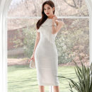 Dress Summer 2020 white S,M,L,XL Mid length dress singleton  Sleeveless commute Crew neck middle-waisted Solid color zipper One pace skirt Hanging neck style 18-24 years old Type X Korean version