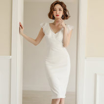 Dress Summer 2020 white S,M,L,XL Middle-skirt singleton  Sleeveless commute V-neck middle-waisted Solid color zipper One pace skirt Flying sleeve Others 25-29 years old Type X Korean version Ruffle, open back, stitching, zipper, lace