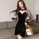 Dress Winter 2020 black , Lotus root red S,M,L,XL Short skirt singleton  Long sleeves commute Crew neck High waist Solid color zipper One pace skirt routine Others 25-29 years old Type H Korean version Hollowed out, stitched, button, mesh, zipper