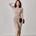 Dress Winter 2020 khaki S,M,L,XL Mid length dress singleton  three quarter sleeve commute Crew neck High waist Solid color Socket One pace skirt routine Others 25-29 years old Type X Korean version Fold, splice