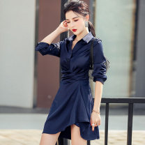 Dress Spring 2021 Starry blue S,M,L,XL Short skirt singleton  Long sleeves commute Polo collar High waist Solid color Single breasted Irregular skirt shirt sleeve Others 25-29 years old Type H Korean version Pleats, stitching, asymmetry, buttons