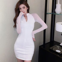 Dress Spring 2021 White, black S,M,L Short skirt singleton  Long sleeves commute stand collar High waist Solid color zipper One pace skirt routine Others 25-29 years old Type X Korean version Panel, zipper