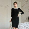 Dress Autumn of 2019 black S,M,L,XL Mid length dress singleton  Long sleeves commute Doll Collar middle-waisted Solid color zipper One pace skirt routine Others Type X Korean version Cutout, stitching, zipper