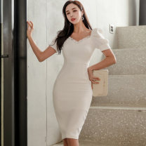 Dress Summer 2020 white S,M,L,XL Middle-skirt singleton  Short sleeve commute square neck High waist Solid color zipper One pace skirt puff sleeve Others 18-24 years old Type X Ol style Open back, fold, ear, stitching, button, zipper, lace